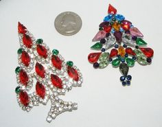 Lot Contemporary Lucite Glass Rhinestone Christmas Tree Brooches Pins Brooch 2pc | eBay sold