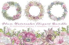 Plum Watercolor Flower Clipart Set by Into The Thicket on @creativemarket