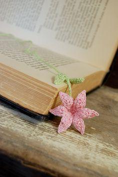 Crochet Handmade Bookmark Pink Lily Flower