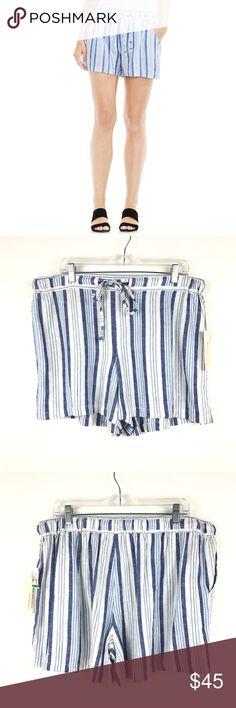 """Two By Vince Camuto Serenity Striped shorts L 175 Two by Vince Camuto Sz L Women Shorts Serenity Summer Breeze Blue Stripe NEW 175  Measurements: Waist: 18.5"""" Flat Across Rise: 13"""" Long Inseam: 4.5"""" Long  Brand New with Original Tags Attached Two by Vince Camuto Shorts"""