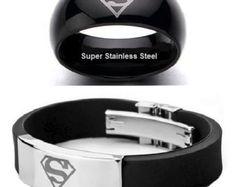 SUPERMAN Man of Steel Black Stainless Steel Ring (size 10) & SUPERMAN Rubber and Stainless Steel Bracelet