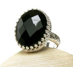 Sterling Silver Black Onyx Power Ring Big by TazziesCustomJewelry, $79.00