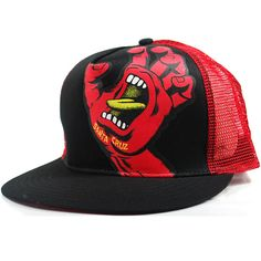 1c0c061f432 Santa Cruz Screaming Hand Trucker Snapback Hat (Black Red)  20.95