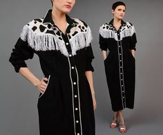Vintage 80s COW Print Western Shirt Rodeo Cowgirl Fringe Snap Front Long Sleeve Wiggle Midi Dress Black White by SHOPPOMPOMVINTAGE