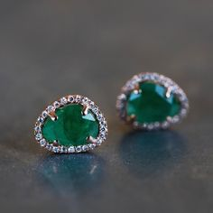 14kt gold and diamond free form emerald studs – Luna Skye by Samantha Conn