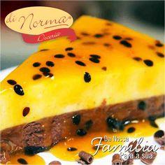 Torta La Passion: Combinação apaixonante de mousse de chocolate e mousse de maracujá juntos sobre uma fina camada de brownie. #love #DiNorma #curta e #compartilhe