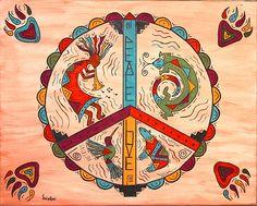 Southwest Peace Love and Harmony Art Print by Susie Weber - X-Small Hippie Peace, Hippie Love, Hippie Art, Hippie Style, Peace On Earth, World Peace, Native Art, Native American Art, American Artists