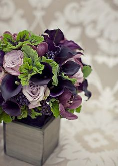 Dark purple, lavender and green! (These are the colours I want in my bedroom :) With some nice clean bright white)