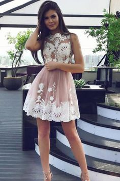 White Homecoming Dresses, Short Prom Dresses, High Fashion A-Line Bateau Tulle Short Homecoming Dress With White Lace,Lace Appliques Homecoming Gown Wite Prom Dresses, White Homecoming Dresses Short, Dresses Elegant, A Line Prom Dresses, Dress Prom, Mini Dresses, Party Dresses, Prom Gowns, Fitted Dresses