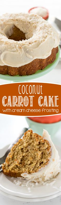 Coconut Carrot Cake - this easy carrot cake recipe is full of coconut flavor with a cream cheese frosting. My family loved this cake!