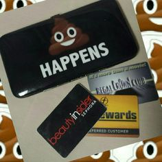 """IMOJI POOP HAPPENS hand held wallet OMG! LMAO! LOL! Imoji Poop Happens hand held clutch wallet. Nothing says it better than an Imoji turd on your wallet! Black shiny with brown Imoji smiley turd and white lettering. All man made materials. Easy silvertone push button open/close (pic 4). Inside there's: 2 money pockets, 1 zip change pocket, 4 card holder pockets and 1 clear license pocket. 7""""W X 4""""Tall. New retail. Use as a wallet or grab n go clutch wallet. imoji  Bags Wallets"""