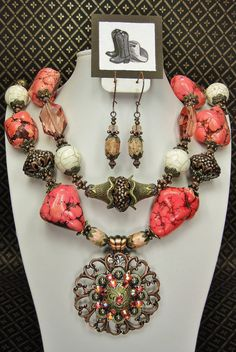 Pink / Salmon Chunky Western Statement by CayaCowgirlCreations, $59.50