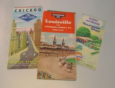 Retro 1950s and 60s Road Maps, Louisville, Kentucky,Illinois and Indiana Gulf Oil Road Map and Gray Line Chicago Tour Guide. $9.99, via Etsy.