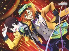 Bungou Stray Dogs (文豪ストレイドッグス)Osamu Dazai cheers on Chuuya Nakahara in their colorful vaudevillian stage act from poster art illustrated by chief animation director Hiroki Kanno (菅野宏紀) for the August Otomedia Magazine (Amazon US | Japan).