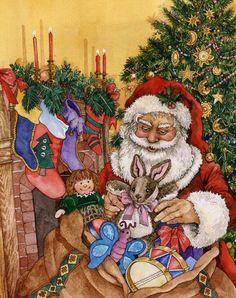 Santa & toys ~ artist undetermined