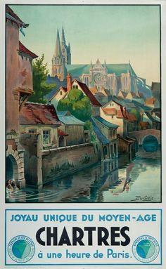 chemins de fer de l'état  - Chartres - joyau unique du moyen-âge - illustration de J. Duveroie - France -