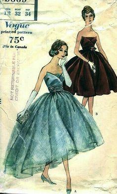 Evening dress pattern, c.1950s