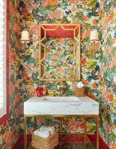 colorful powder room perfect with thick marble modern sink. White Paint Colors, White Paints, Modern Townhouse, Modern Sink, Interior Design Business, Elements Of Style, Fireplace Wall, I Wallpaper, Decorating Your Home