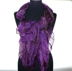 Silk scarf hand painted scarf purple brown scarf by batikelena
