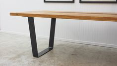 macrocarpa table with metal legs