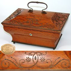 Antique French Palais Royal Sewing or Work Box, Sarcophagus Shape wFaceted Steel Ornamentation