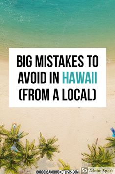 Are you excited for your first time in Hawaii? Here are a few mistakes that you should avoid making during your trip (from a Hawaii local! Moving To Hawaii, Hawaii Vacation, Dream Vacations, Honeymoon In Hawaii, Hawaii Trips, Hawaii Resorts, Family Vacations, Cruise Vacation, Disney Cruise