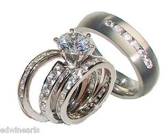 His Hers 4  Piece Cz Wedding Ring Set Sterling Silver & Titanium Wedding Rings