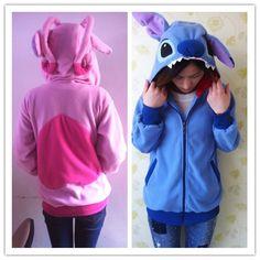 Kigurumi disney Lilo & Stitch blue hoodie cosplay coat jacket #Disney #hoodie