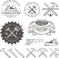Set Of Vintage Carpentry Tools Labels And Design Elements Vector Art 463128321
