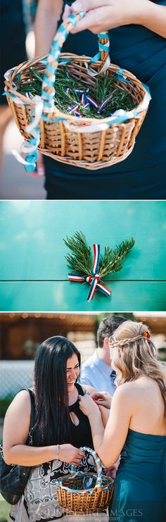 In accordance with Croatian wedding custom, rosemary is offered for pinning to lapels and blouses of wedding guests. Tradition maintains that rosemary (wrapped in the traditional colors of the Croatian flag) wards off evil.