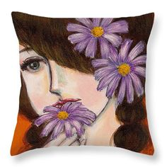 "A girl With Daisies Throw Pillow 14"" x 14"""
