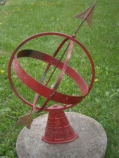 Antique Armillary Metal Sundial with Zodiac Base Copper Details | eBay