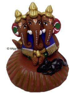 Eco-Friendly Terracotta Teenmukhi Ganesha.