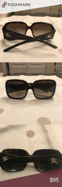 Burberry (authentic) tortoise shell sunglasses Burberry (authentic) tortoise shell sunglasses with iconic gold Burberry insignia!! Glasses are in good condition, just a few minor scratches on lenses but price reflects same, plenty of mileage left of these classic beauties!! 😎 Burberry Accessories Sunglasses