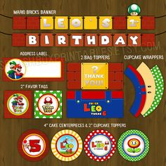 Super Mario Printable Birthday Party Package - Super Mario Bros Complete Birthday Set - Invitation, cupcake toppers, banner etc
