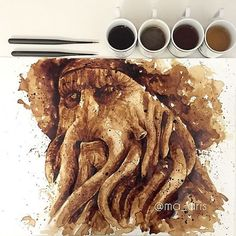 Artist Uses Coffee To Create Impressive Paintings Of Pop Culture Characters - DesignTAXI.com