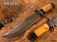 HANDMADE DAMASCUS STEEL BOWIE KNIFE (FOR SALE) CONTACT US: bhrcuttlery2015@gmail.com,  kmatraders2014@gmail.com visit website: www.kmatraders.net