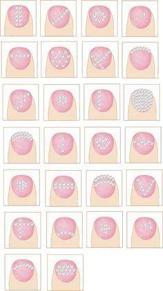 Different diamanté nail styles, nail designs with studs, glitter rhinestones. Buy Swarovski Crystals @ http://www.crystal-beads.co.uk/swarovskielements/3-swarovski-flatback-rhinestones-glue-on-gems