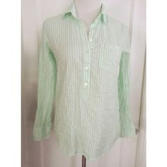 {j. crew} striped button top Elegant and pretty striped mint green and white button up top from j. Crew retail. Half buttons. Perfect for wearing with jeggings for a casual look or tucked into a pencil skirt for work.   Gently worn  Size 2 J. Crew Tops Blouses