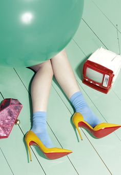 Igor Ouvaroff / Editorial I've spotted weatherboard and freshly squeezed polish colours in this image, am I missing any? fashion editorial Bright Accessories for a Whimsical Wardrobe Shoes Editorial, Editorial Fashion, Editorial Design, Denim Editorial, Foto Fashion, Trendy Fashion, Fashion Spring, London Fashion, Unique Fashion