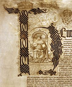 """Letter """"H"""" Illuminated initial of Henry VIII, 1526"""