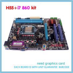 جديد h55 اللوحة عدة مع i7 lga1156 ddr3 860 i7 870 المعالج cpu