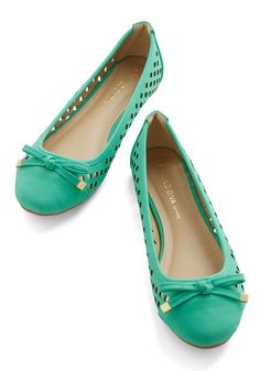 Frolic in Fresno Flat. Rise to greet the sparkling sun outside by slipping on these spearmint-green flats, available for purchase in June! #green #modcloth
