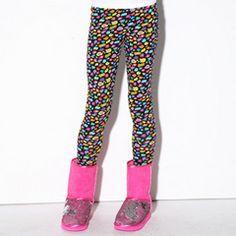 Girls' Leggings | Black Zany Leopard Ankle Legging