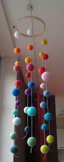 Felt ball mobile, great rainbow coors
