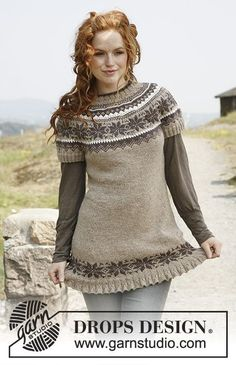 """Autumn Flurries - Knitted DROPS tunic with short sleeves, round yoke and Norwegian pattern in """"Karisma"""". - Free pattern by DROPS Design Knitting Patterns Free, Knit Patterns, Free Knitting, Free Pattern, Drops Design, Laine Drops, Fair Isle Pattern, Fair Isle Knitting, Pulls"""