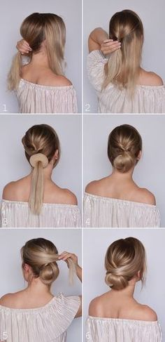 What's the Difference Between a Bun and a Chignon? - How to Do a Chignon Bun – Easy Chignon Hair Tutorial - The Trending Hairstyle Work Hairstyles, Braided Hairstyles, Buns Hairstyles Tutorials, Trendy Hairstyles, Waitress Hairstyles, Cute Bun Hairstyles, Medium Hair Hairstyles, Easy Elegant Hairstyles, Easy Hairstyles For Work
