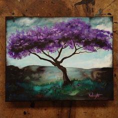 Original Purple Tree Painting Joel Wright