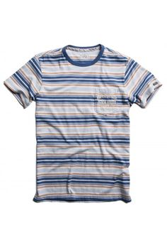 22f567c7009e07 Cotton jersey stripe T-shirt with print on breast pocket light blue white