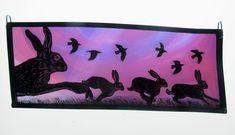 Stained Glass Portfolio - Tamsin Abbott ~ Hares and Crows Stained Glass Paint, Stained Glass Panels, Glass Painting Designs, Paint Designs, My Glass, Glass Art, Rabbit Art, Bunny Art, 1920s Art Deco